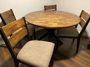 Hardwood Roy s dining room table and 4 chairs. for Sale in West Hollywood, CA