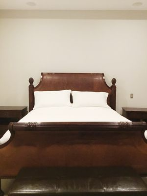 King bed frame (real leather, solid wood) and two night stands for Sale in Vancouver, WA