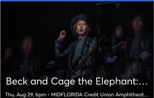 3 lawn tickets for Beck & Cage the Elephant $20/each for Sale in Palm Harbor, FL