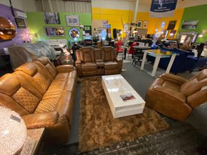 New!! Brown Luxury sofa-Loveseat & Chair • Power Recliners • Audio Speakers • Free Financing • No credit check! for Sale in Las Vegas, NV
