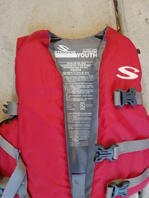 Inflatable boat, life preservers.