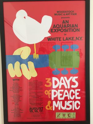Framed 1969 WOODSTOCK Poster and Admission Ticket for Sale in Gordonsville, VA