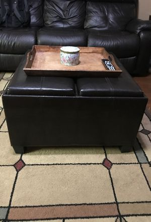storage ottoman with wood tray for Sale in Fresno, CA