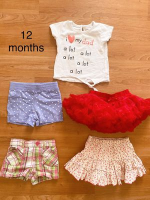 Lot of baby girl summer clothes, shorts, skirts, top, 12 months, $7 for everything, clothes for kids, toddlers for Sale in Surprise, AZ