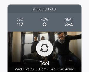 2 TOOL tickets lower level for Sale in Tempe, AZ