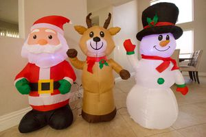 NEW 3 Christmas Decorations Deer Snowman Santa for house front yard furniture living dining room for Sale in Las Vegas, NV