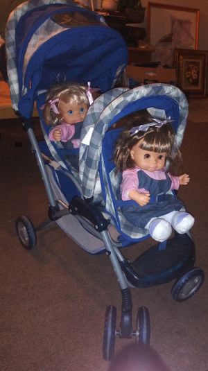 Doll stroller, with battery operated dolls that talk for Sale in Modesto, CA