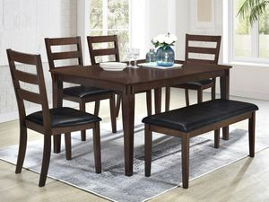 NEW ~ 6PC Walnut Wood Finish Dining Set *FREE DELIVERY* for Sale in Columbia, MD