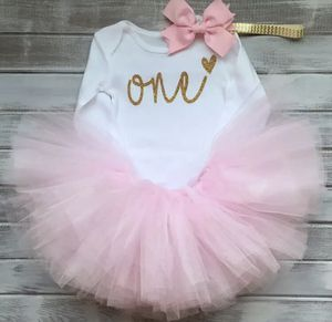 New Cotton Baby Girls Clothes 1 Year 1st Birthday Dress Party Dresses For Girl Toddler Kids Baptism Gown Tutu Outfits with Headband heart gift for Sale in Los Angeles, CA