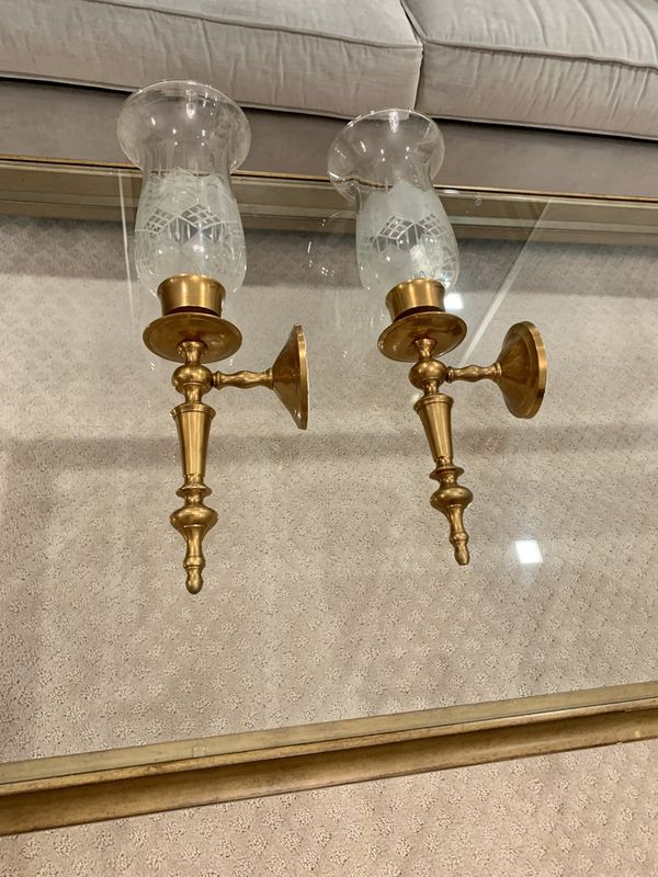 """Pair of two heavy brass wall candle sconces 18"""""""