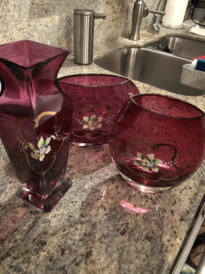 4 Glass vases hand painted and hand cut for Sale in Renton, WA