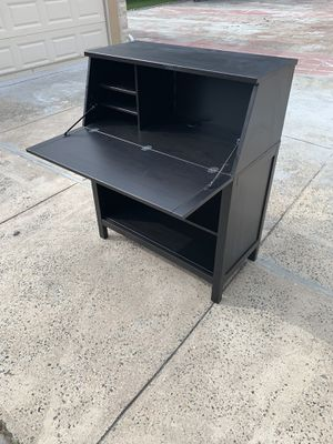 Ikea black brown Hemnes fold out desk with shelves for Sale in Queens, NY