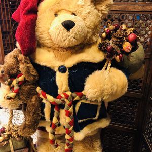 "30"" Large Dan Dee Plush Christmas Bear W/Baby Bear on Wooden Stand for Sale in Rancho Cucamonga, CA"