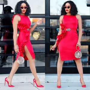 Brand new red side ruffle dress with slit for Sale in Baltimore, MD