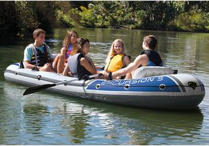 Intex Excursion 5 Boat Set with Oars and Pump for Sale in San Jose, CA