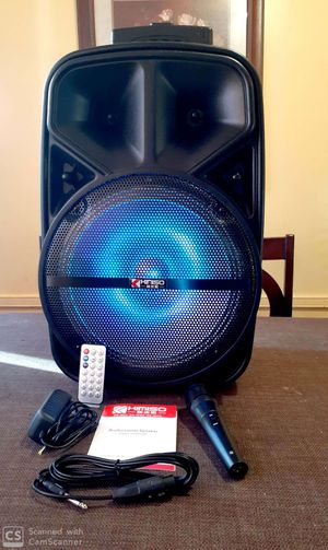 """Speaker 2000W Woofer 12"""" bluetooth karaoke inalámbrico recargable luces LED micrófono **Delivery gratis 19 millas max** for Sale in Commerce, CA"""