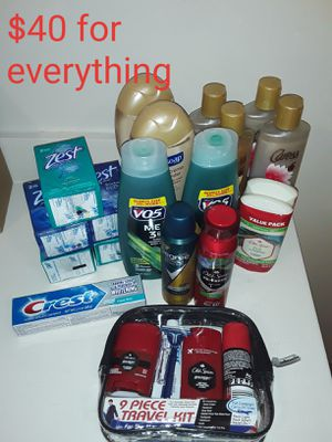 "ZEST, DEGREE, OLD SPICE, CARESS, SOFT SOAP, V05, CREST.. SHAMPOO, BODY WASH, T.PASTE, BODY SPRAY, DEODORANTS, AND A ""9 PIECE TRAVEL KIT"". for Sale in Los Angeles, CA"
