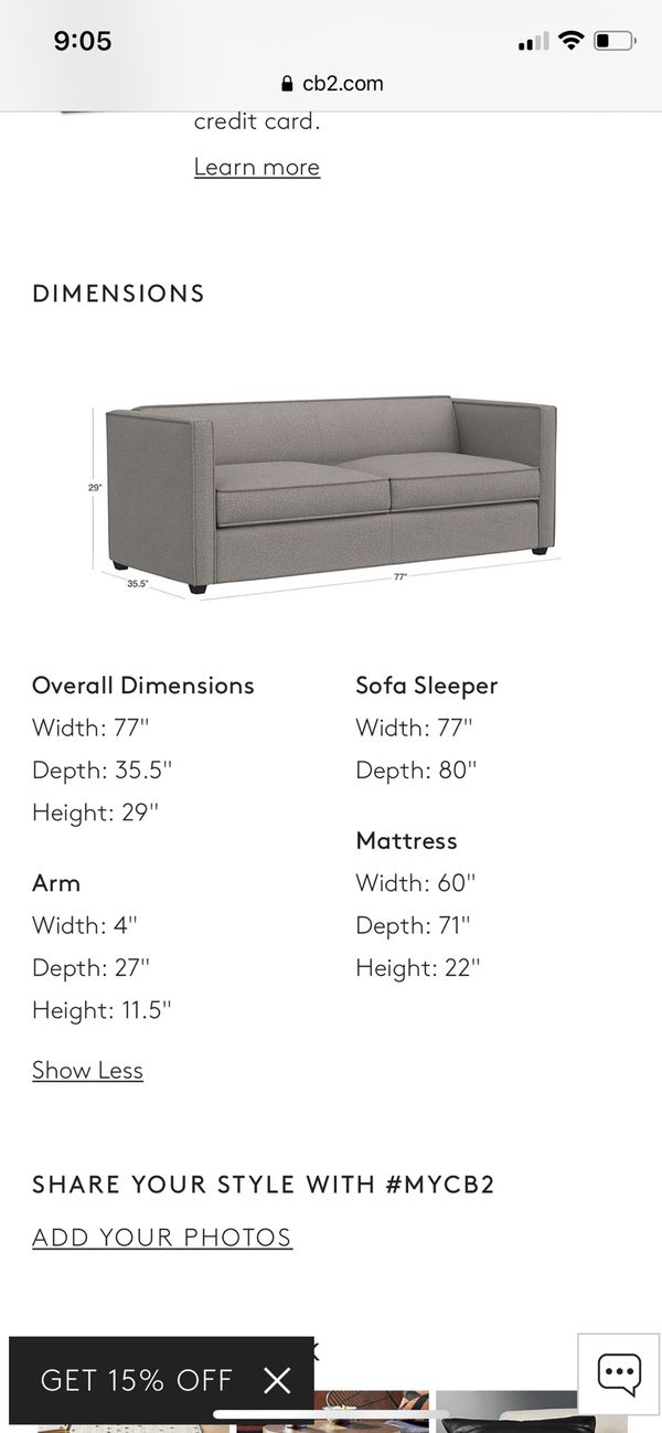 Cb2 Sofa Bed For Sale