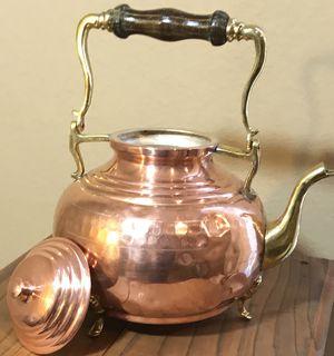 Italian Copper/bronze/wood tea pot for Sale in Pinole, CA