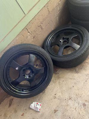 "ESR Rims Drift/Races 18"" tires good thread freshly dipped on black. for Sale in Atlanta, GA"