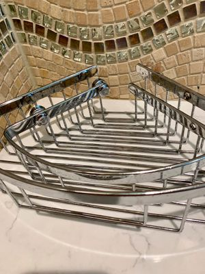 Frontgate Pie-Shaped Basket Set / Easy-Release Bath Baskets (2) / Chrome Shower Storage Shelves / Retails Price is $159 for Sale in Angier, NC