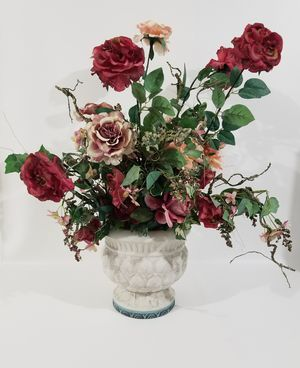 Large Bouquet of Artificial Faux Fake Flowers, Greens and Cones in a Vase for Sale in Palm Harbor, FL