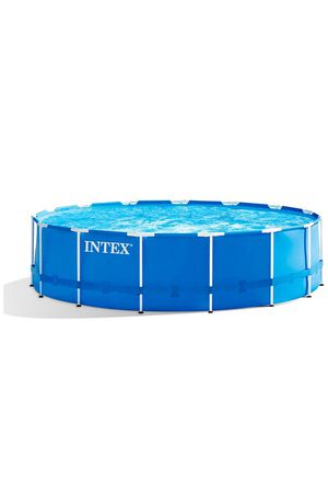 Intex 15ft X 48in Metal Frame Pool Set with Filter Pump, Ladder, Ground Cloth & Pool Cover. Used as display item. One week return & full refund guara for Sale in Norfolk, VA