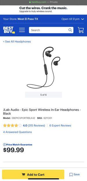 JLab Audio - Epic Sport Wireless In-Ear Headphones - Blue for Sale in El Paso, TX