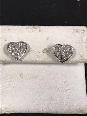 Heart shape diamond gold earrings for Sale in Riverview, MI