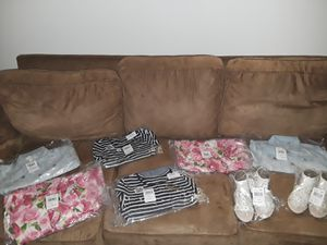 $80 Pink Flower blue stripe girl dresses with jean jackets and nice dress sandals brand new were purchased for twin girls never got to use them for Sale in Waterbury, CT