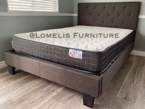 Queen dark Gray button tufted bed w. Orthopedic mattress included for Sale in Corona, CA