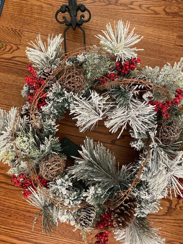 Christmas Wreath and Iron Hook for Door