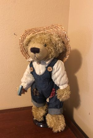 Country teddy bear on stand for Sale in Katy, TX