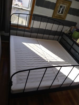 King size bed frame W/ boxsprings for Sale in Enfield, CT