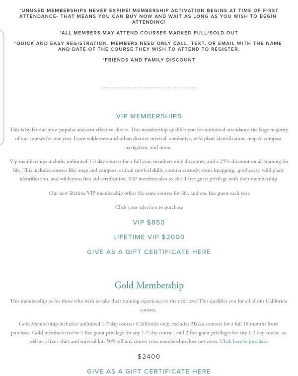 Survival school gold pass worth $2400