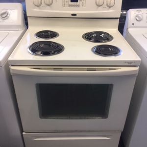 USED WHIRLPOOL OFF WHITE SELF CLEANING STOVE RANGE COMES WITH 60 DAY WARRANTY for Sale in Norfolk, VA