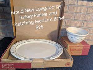 Longaberger Turkey Platter and matching Medium Bowl for Sale in Orange City, FL