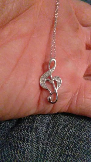 925 necklace with music note heart pendant from Macy's for Sale in Pittsburg, CA