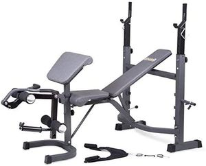 Olympic Weight Bench with Preacher Curl, Leg Developer and Crunch Handle. Includes Curl and Straight bars for Sale in Rialto, CA
