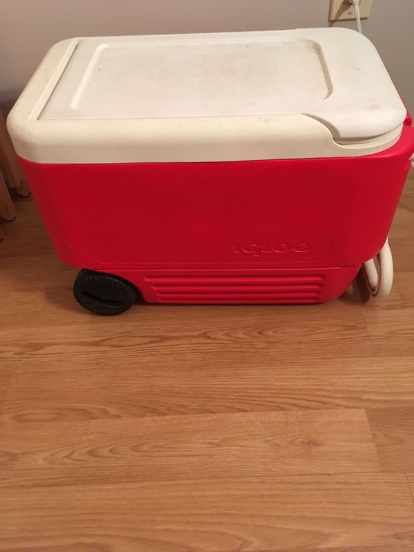 Red Cooler with Wheels