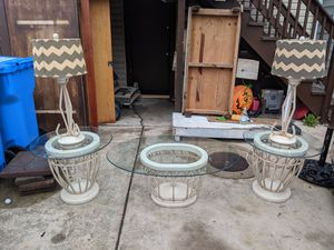 Glass Coffee table and end tables & lamps $250 for Sale in Chicago, IL