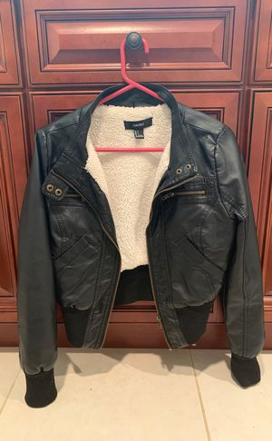 Small black leather jacket with wool lining for Sale in Rockville, MD