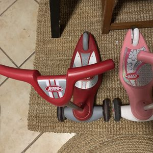 2 Radio Flyer Scooters And One Ride On Push Car for Sale in Boca Raton, FL