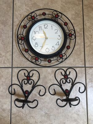 Clock and candle holders set for Sale in Maricopa, AZ