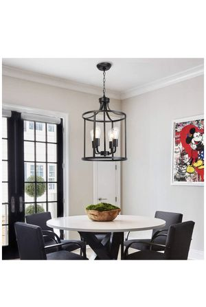 VINLUZ Farmhouse Foyer Lighting Black Chandeliers 4 Light Modern Dining Room Lighting Fixtures Hanging, Kitchen Island Cage Pendant Lights Lantern Fl for Sale in Indianapolis, IN