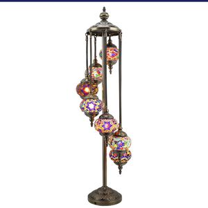 Available on Alexstrade. Com FurniFuture Handmade Turkish Mosaic Glass Floor Lamp Tiffany Style Lamp Decorative Night Light with 7-Lamp for Sale in Holly Springs, NC