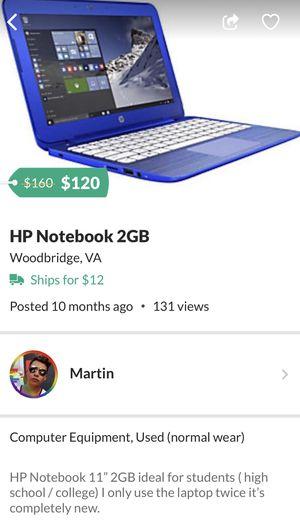 HP Notebook 2GB for Sale in Woodbridge, VA