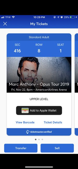 Marc Anthony tickets plus parking pass for Sale in Fort Lauderdale, FL