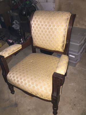 Antique chair gold fabric for Sale in Arlington, VA