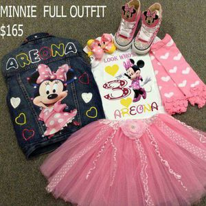 Minnie mouse full custom outfit w matching converse jean jacket for Sale in Columbus, OH